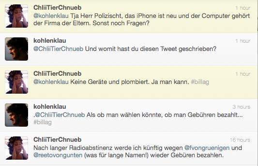 Twitterkonversation zwischen @kohlenklau und @chliitierchnueb, 9. 1. 2010