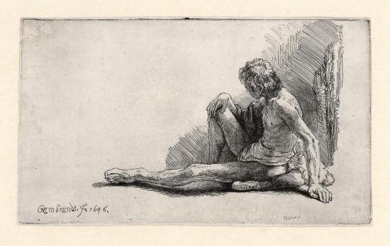 Sitzender nackter Mann. Rebrandt, Skizze, 1646.