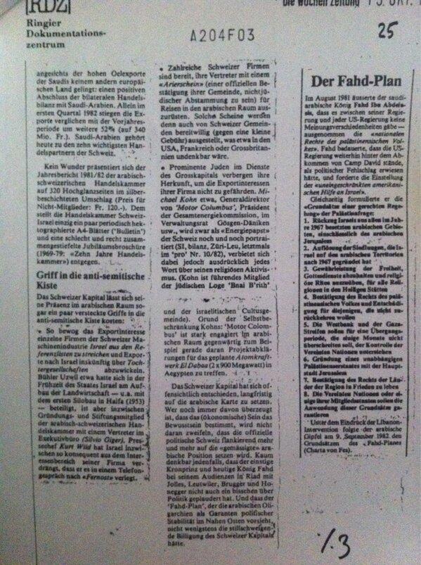 Weltwoche: »In einem Abschnitt, der sich vorgeblich mit Antisemitismus in der Schweizer Wirtschaft befasst, greifen die israelfeindlichen Autoren selber in den Giftschrank: «Prominente Juden im Dienste des Grosskapitals», schreiben Strehle/Kistler, «verbergen ihre Herkunft, um die Exportinteressen ihrer Firma nicht zu gefährden.» Gemünzt war der Vorwurf explizit auf den Schweizer Atomkraftbefürworter und «Energiepapst » Michael Kohn. «Juden im Dienste des Grosskapitals»? Was immer sich Strehle dabei gedacht haben mag: Solche Formulierungen rufen einen klassischen Topos sowohl des rechten wie des linken Antisemitismus auf […]«